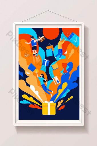 promoción de compras paquete de regalo actividad de descuento comercio electrónico pantalla de presentación ilustración de la aplicación Ilustración Modelo AI