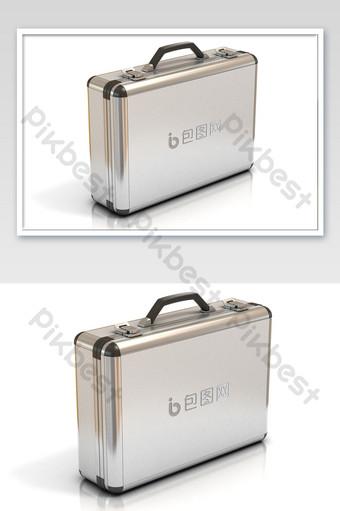 maqueta de material de oficina con logo plateado caliente de maleta de metal Modelo PSD