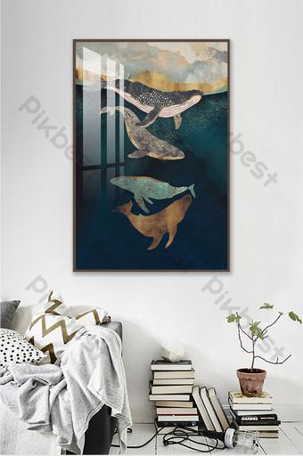 pintura al óleo azul textura ballena nórdico abstracto decorativo Decoración y modelo Modelo PSD