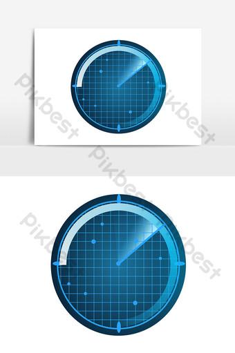 vector de indicador de escaneo de pantalla de radar circular giratoria azul Elementos graficos Modelo AI