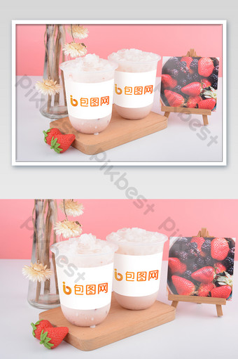 Pink small fresh iced delicious milk tea scene drink takeaway cup mockup Template PSD