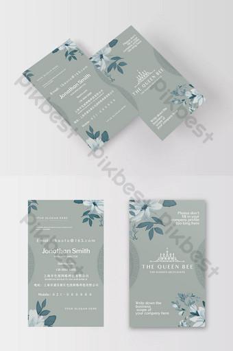 Carte de visite de marque de soins de la peau de beauté d'éléments floraux gris bleu littéraire et élégant Modèle PSD