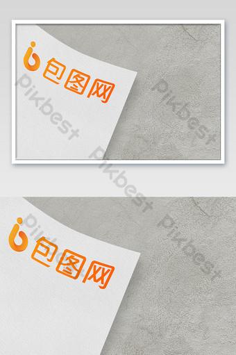 灰色牆糧食紋理背景紙徽標樣機 模板 PSD