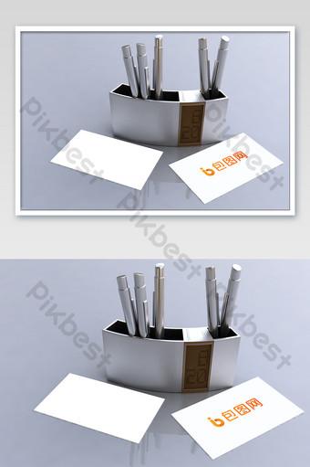 مكتب حامل قلم بطاقة نموذج بالحجم الطبيعي قالب PSD