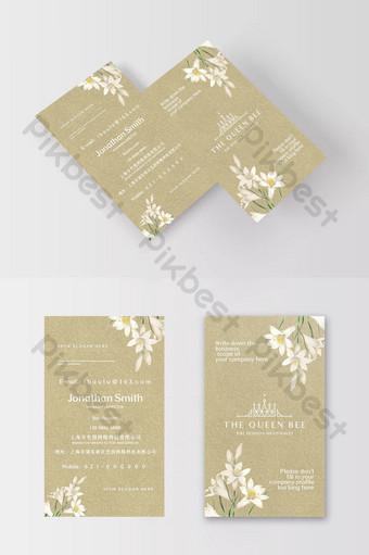 Carte de visite d'étiquette de mariage d'élément de lys simple et élégante Modèle PSD