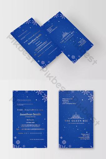 Carte de visite de bronzage d'étiquette de mariage d'élément de flocon de neige bleu royal exquis et magnifique Modèle PSD