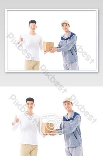 Takeaway boy delivery customer like service Photo Template JPG