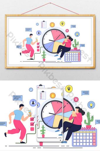 Carte de temps signe dans l'illustration de compte public de bannière de bureau d'affaires calendrier Illustration Modèle AI