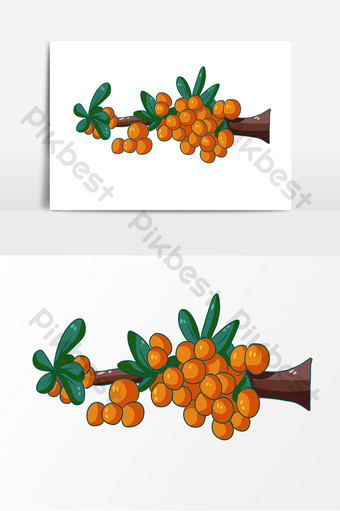 Hand drawn desert plant sea buckthorn decorative elements PNG Images Template PSD
