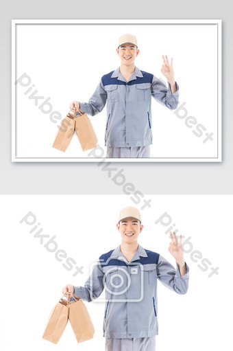 Take-out courier delivery staff service than OK gesture Photo Template JPG