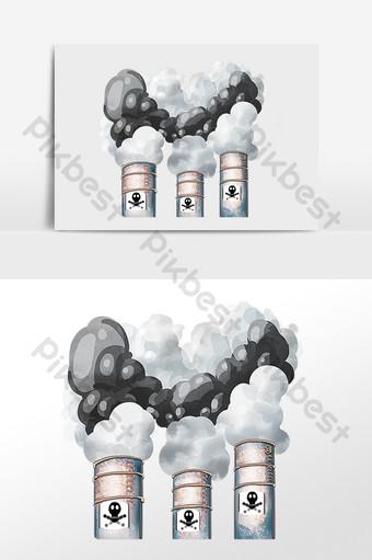 空氣污染工廠煙圖 元素 模板 PSD