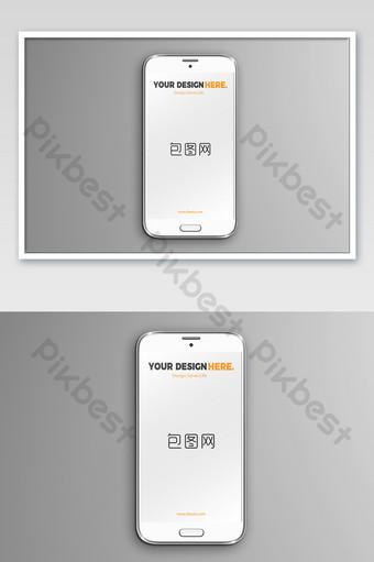 Maquette d'affiche d'affichage d'application de carte de base grise de téléphone Android Modèle PSD