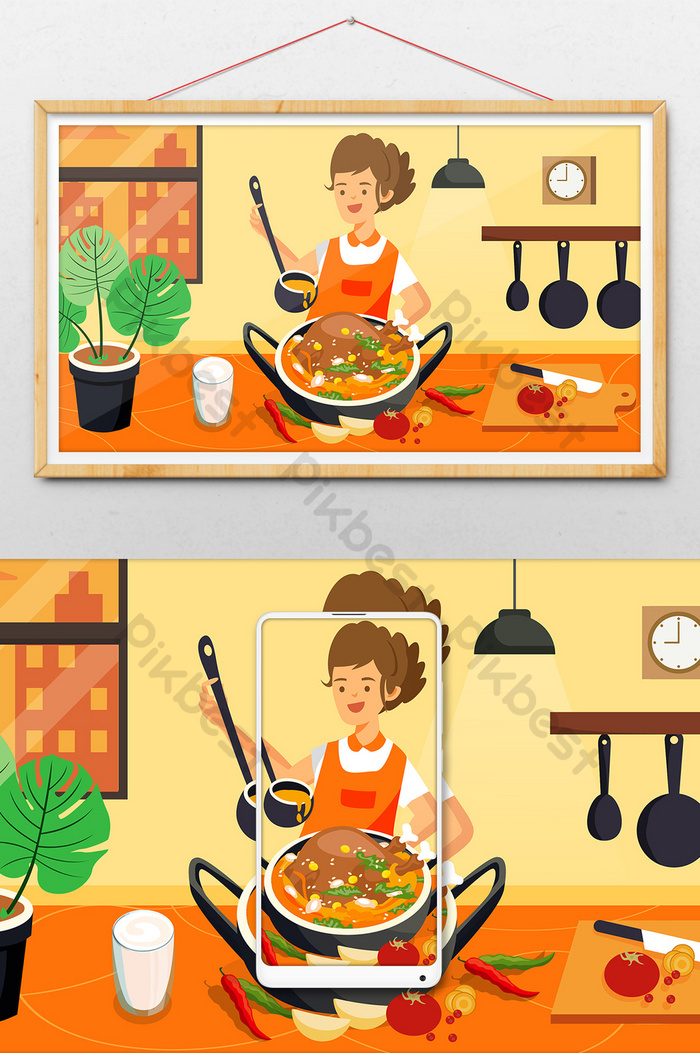 Stewed Chicken Gourmet Cooking Food Chef Home Banner Public Account Illustration Illustration Ai Free Download Pikbest