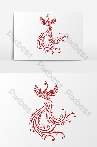 рисованный мультфильм феникс бесплатно Графические элементы шаблон PSD