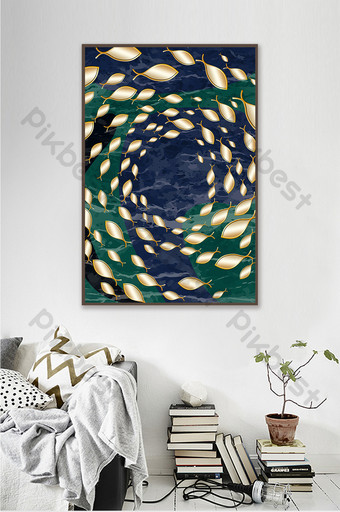 Abstract gold leaf decorative painting of fish swimming in deep sea Decors & 3D Models Template PSD