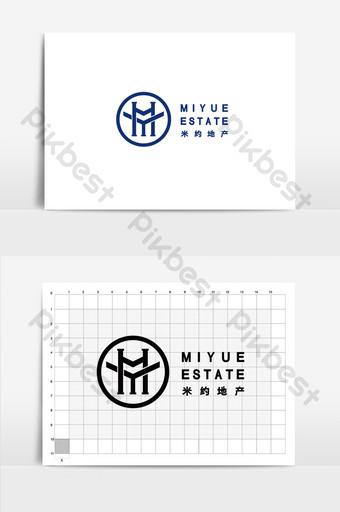 Création de logo immobilier entreprise profil bleu Modèle AI
