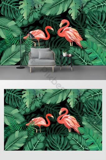 現代簡約熱帶植物烏龜葉火烈鳥臥室背景牆 裝飾·模型 模板 PSD