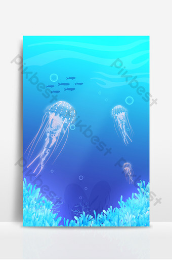 Blue fantasy sea creature jellyfish background Backgrounds Template PSD