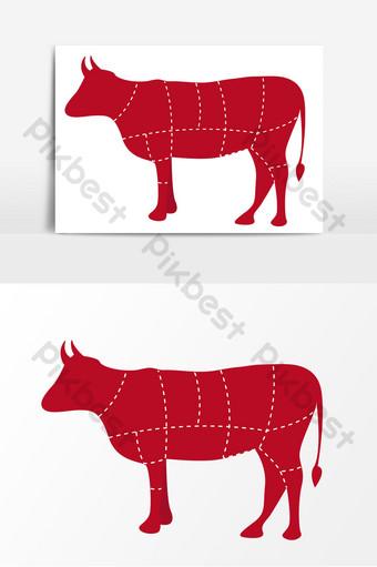 Australian beef segmentation map vector elements PNG Images Template AI