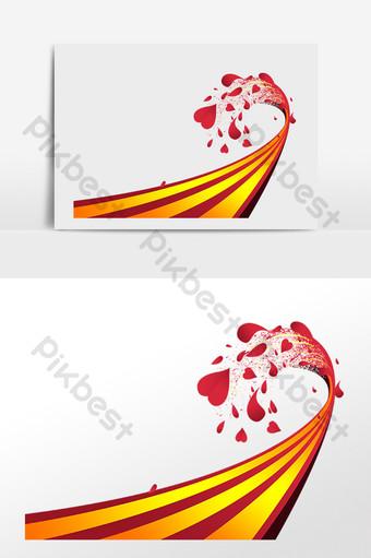 ilustración de pista de decoración de corazón rojo Elementos graficos Modelo PSD