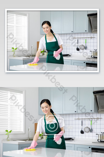 Young female housekeeping service housewife test desktop Photo Template JPG