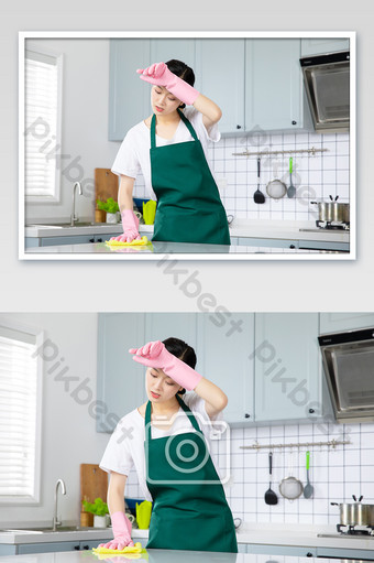 Young housewife housekeeping service hard cleaning desktop Photo Template JPG