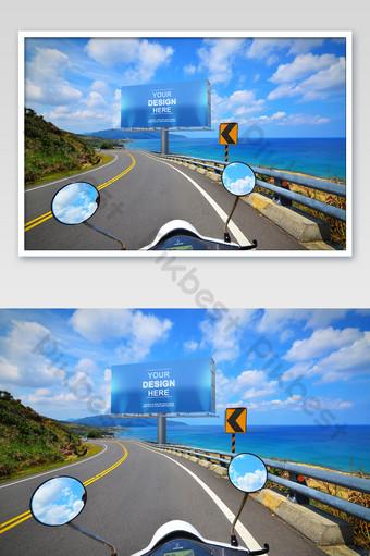 Seaside road motorcycle seaport city outdoor billboard poster mockup Template PSD