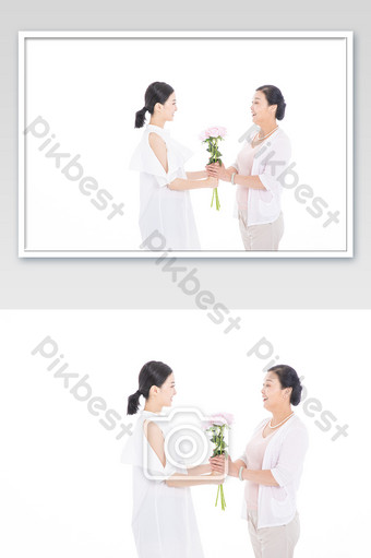 Daughter sends flowers to mother for Mother's Day Photo Template JPG