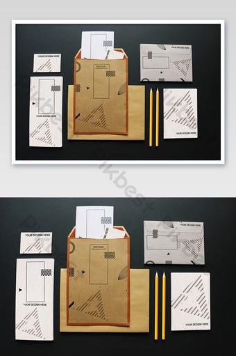 اللوازم المكتبية ورقة مغلف قالب نموذج بالحجم الطبيعي قالب PSD