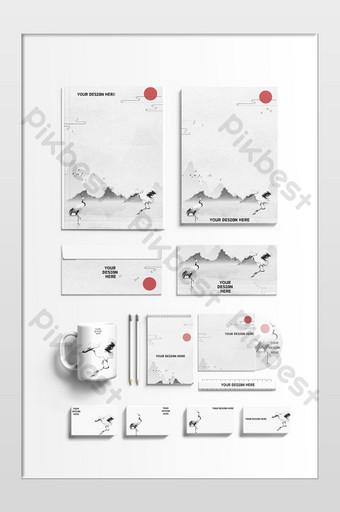 Maquette de tasse d'enveloppe de carte de papier de style simple Modèle PSD