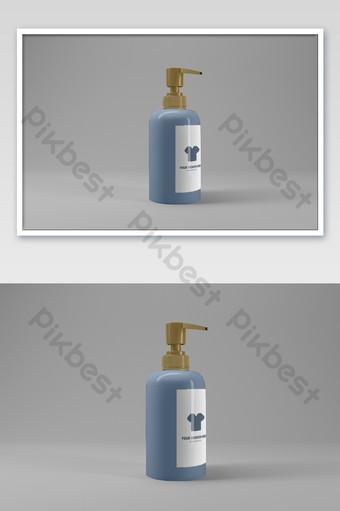 botella cosmética desinfectante de manos perfume prensa botella cuerpo logo empaquetado maqueta Modelo PSD