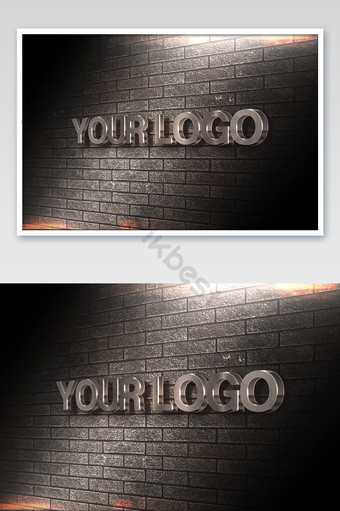 أسود جدار من الطوب نمط أفقي معدني ثلاثي الأبعاد شعار بالحجم الطبيعي قالب PSD