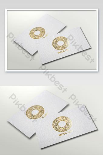 Maquette de logo d'estampage à chaud de carte de visite blanche avec texture granuleuse Modèle PSD