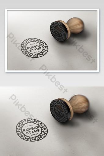 nostálgico papel textura sello impresión logo signo maqueta Modelo PSD