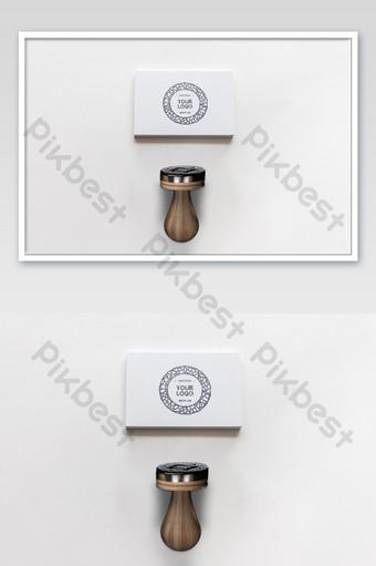 Maquette de logo d'impression de sceau de pile de carte de visite blanche Modèle PSD