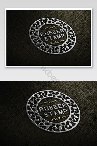 tela negra textura metal palabra estampado en caliente logo plateado maqueta Modelo PSD