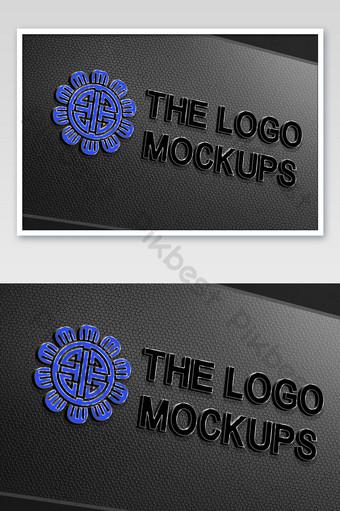maqueta de signo de logotipo de palabra tridimensional de textura de placa de acero de agujero redondo negro Modelo PSD