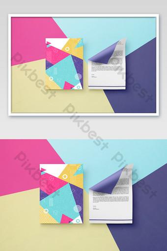 Figure géométrique A4 papier affiche dépliant document fournitures de bureau maquette Modèle PSD