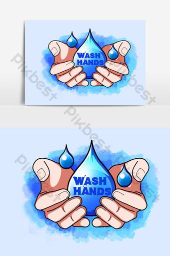 洗手日手繪卡通元素 元素 模板 PSD