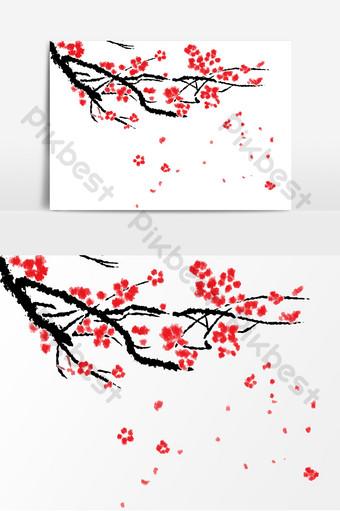 tinta roja vintage estilo chino flor de ciruelo vector patrón decorativo Elementos graficos Modelo AI