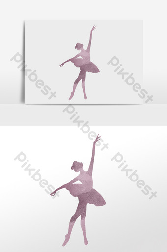 手繪跳舞舞蹈芭蕾女孩剪影圖 元素 模板 PSD