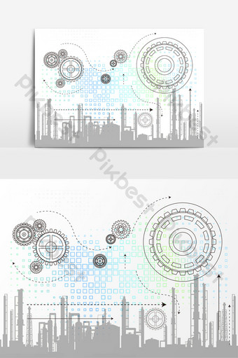 Simple business style PPT gear drawing industrial building technology sense PNG Images Template AI