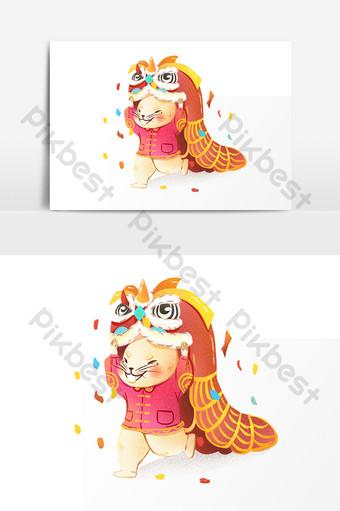 2020 tahun elemen tikus tarian singa kartun gaya cina tikus Elemen Grafik Templat PSD