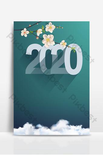 نسيج رومانسي فروع التدرج الرمادي 2020 خلفية يوم رأس السنة الجديدة خلفيات قالب PSD