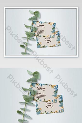 لون الخلفية الطازجة والأنيقة الورقة الخضراء بطاقة الأعمال نموذج اللوازم المكتبية مغلفة قالب PSD