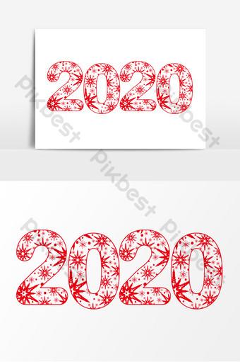 Fuente de vector de ai de corte de papel de copo de nieve de año nuevo 2020 Modelo AI