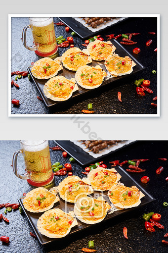 BBQ Scallops Seafood Beer Chili Meat Food Photography Pictures Photo Template JPG