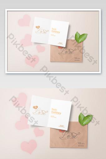color cálido amor romántico humor libro sobre carta suministros de oficina maqueta Modelo PSD