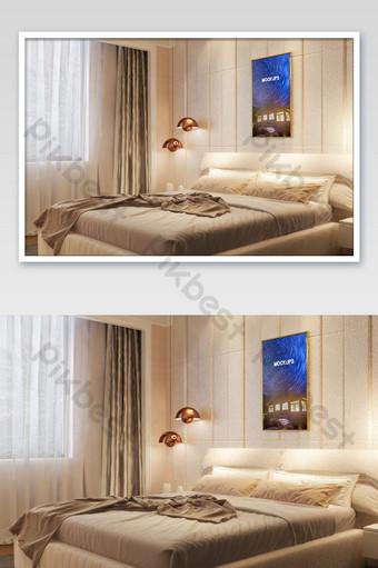 溫暖的灰色雙人床臥室壁畫牆海報樣機 模板 PSD