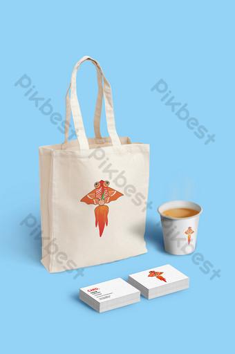 سادسا حقيبة يد الأعمال بطاقة ورقة كأس اللوازم المكتبية بالحجم الطبيعي قالب PSD